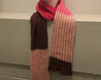 Pink & Red Wool Blend Knit Scarf