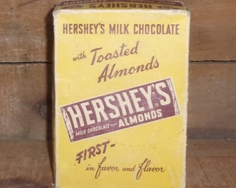 Hershey's Chocolate Almond Candy Bar Box - Vintage Food Advertising - Collectible Box - Home Decor - Kitchen Collectible - Storage Container