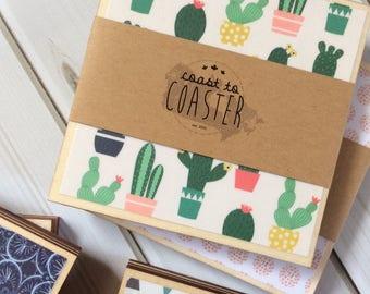 Cactus Decor, Cactus Gift, Cactus Coasters, Cactus, Green Decor, Yellow Decor, Yellow Coasters, Greenery, Wooden Coaster, Decorative Coaster
