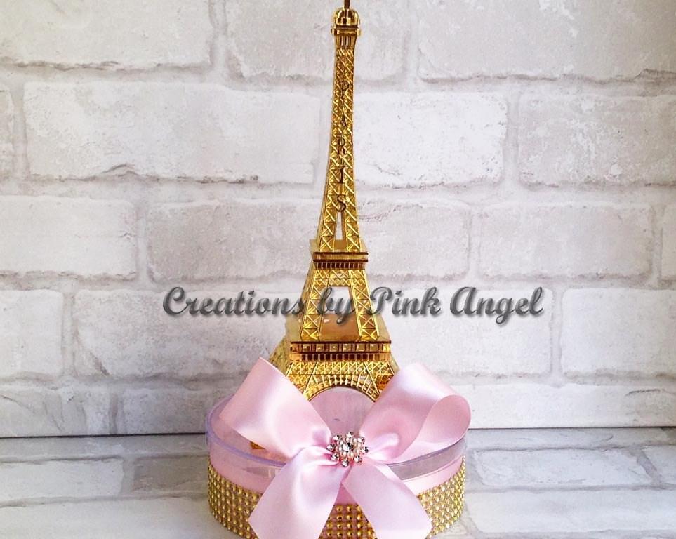 Set of large paris centerpieces gold eiffel tower party