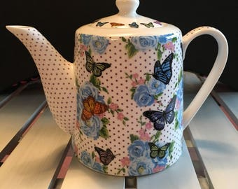 Butterfly and chintz bone china teapot