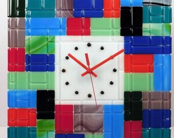 Fused Glass Wall Clock Rectangular Fantasy - XL (Extra Large)