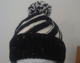 Black and Cream Aran Hat with a Twist Adult Size