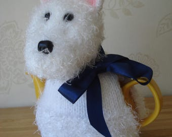 Dog Lovers Tea Cosy, Cozy White with a Navy Blue Ribbon