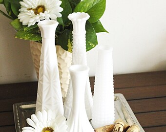 Set of 4 milk glass vases- wedding decor - centerpieces - table decor - white vases lot