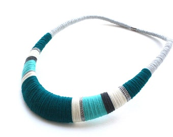 Teal necklace, Blue necklace, Gray necklace, Tribal necklace, tribal jewelry, statement necklace, necklace, cotton necklace, silver necklace