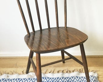 70's retro wooden dining chair spindle back