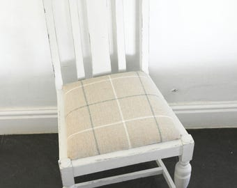 Light Grey Dining Chair with Check Seat painted beige check cotton seat