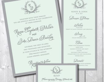 Gorgeous Wedding Ensemble including matching RSVP and Menu /DIGITAL FILES/printable/wording and colors can be changed