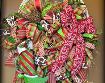 Western Christmas Deco Mesh Wreath, Christmas Deco Mesh Wreath, Deco Mesh Wreath, Holiday Deco Mesh Wreath