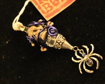 Dread Clip Smoking Clip OOAK Rusty Bones Spider, Skull and Bones,Silver, Blue Wire Hair Clip
