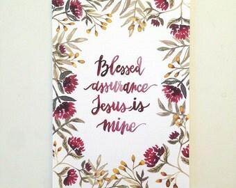 Blessed Assurance - Hand Lettered Hymn Art Print