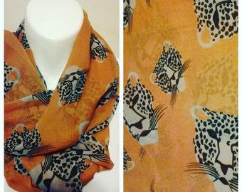 Rusty Orange leopard chiffon Infinity Scarf