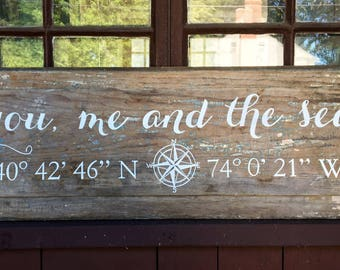 You, Me and the Sea reclaimed wood sign - PERSONALIZED