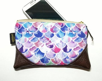 Mini Watercolor Mermaid Zipper Pouch / Mini Clutch with inside lining and Zipper Pull or Leather Wristlet Strap