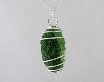 Genuine Moldavite Meteorite Space Necklace - Sterling Silver