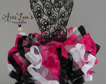 Birthday pink tutu, hot pink tutu, pink black white tutu, 1st birthday,2nd birthday, 3rd birthday, girls party tutu, pink black ribbon tutu