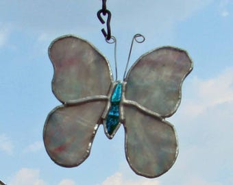 Pastel Pink Purple & Blue Stained Glass Butterfly Handmade Sun Catcher Christmas Ornament