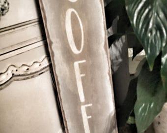 """Wood """"COFFEE"""" sign"""