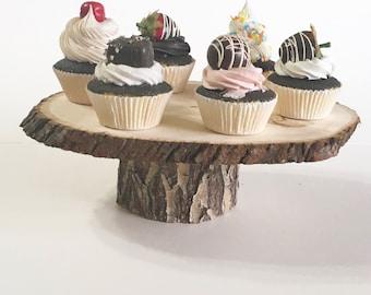 "Rustic Cake Stand, Pine Cake Stand, Cupcake Stand, Rustic Wedding Cake Stand, 10"" Cake Stand, Wood Slab Cake Stand"
