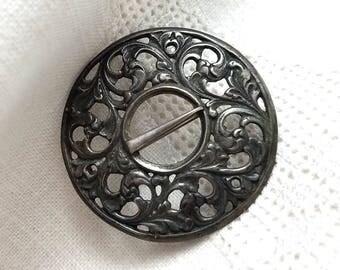 Art Nouveau 830S Silver Round Brooch Sash Pin Scandinavian