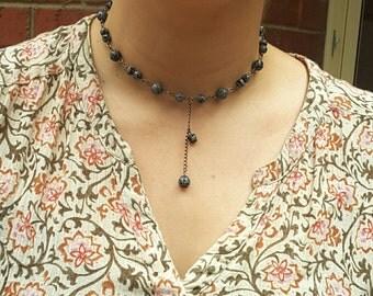Gemstone Snowflake Obsidian Choker Necklace, Black Choker Necklace, Gemstone Jewelry, Australian Made, Black Jewelry, Chakra Necklace Choker