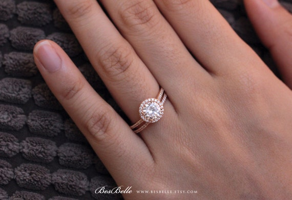 Rose gold or white gold oval halo pave setting Weddingbee