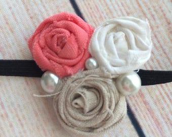 Vintage inspired rosette elastic headband