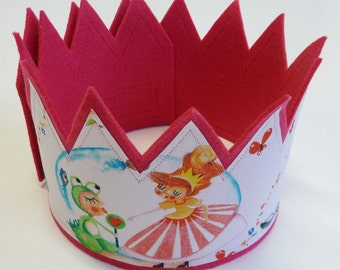 Princess Crown, Pink Birthday Crown, Girls Birthday Crown, Felt Party Crown, Felt Party Hat, Kids Crown, Kids Costume, Princess Toy