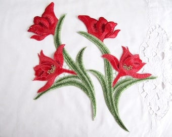 Red Lily Patch,Mirror Lily Applique,Embroidery Patches, Floral Applique for Craft ,DIY Craft, Costume Embellishment