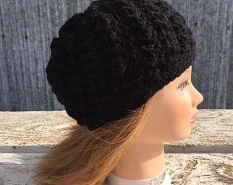 New Crochet Slouchy Beret Beanie Hat Ladies Adult Size Black Handmade Perfect for Spring and Fall