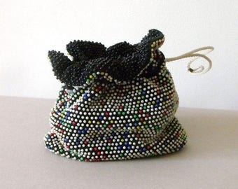 Beaded, Colorful Vintage 60s Dottie Reversible Clutch Drawstring Bag