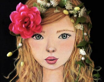 Girl Portrait Acrylic Painting Pink Flower Mixed Media Blonde Little Girl Children Artwork 9X12 inches