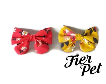 girly bow for dog collar,vintage, bowtie for dog ,cat collar,bow tie,flowers, red , collar ,fier-pet,fierpet,