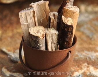 Tub of Firewood for Miniature Garden, Fairy Garden