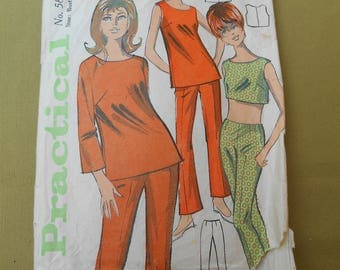 Sewing Pattern, Trouser Suit Sewing Pattern 1960s, Vintage Sewing, Size Bust 34""