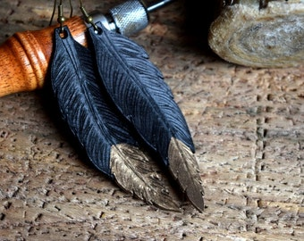 Bronze Tipped Leather Feather Earrings / Hand Made Feather Earrings / Hand Tooled / Feather Dangle Earrings