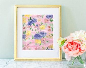 Nursery wall art, pink flower print,  watercolor flower,  nursery art, flower nursery,  pink and purple, flowers, nursery flower , 8 x 10