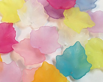 Frosted Acrylic Leaves 20 pcs, Mapple Leaf, lucite beads, Frosted, Mixed Color, Colorful Acrylic Leaves 24mm x 23mm, Lucite Leaves Beads