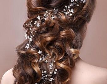 20% OFF-Bridal Hair Vine, Wedding Tiara, Wedding Headband, Bridal Hairpiece, Boho Headpiece, Hair Accessory, Wedding Hair Wreath, Pearl Vine
