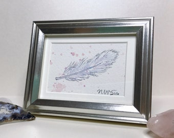 Original Watercolor and Ink Illustration - Floating Feather No. 4