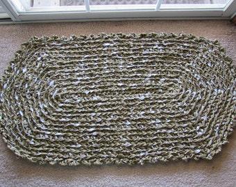 Crocheted Rag Rug CP84 Olive Green, Black, & White