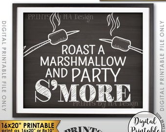 "S'more Sign, Party Smore Station, Roast S'mores Bar, Roast Marshmallows, Campfire, 8x10/16x20"" Chalkboard Style Printable Instant Download"