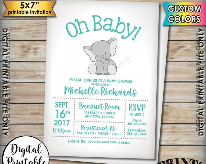 "Elephant Baby Shower Invitation, Elephant Invitation, Baby Elephant Shower Invite, Elephant Themed Party, 5x7"" Digital Printable File"
