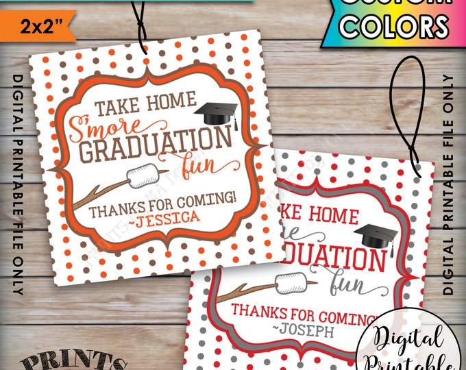 "S'more Fun Tags, Smore Graduation Fun Favors Grad Tags, Graduation Party Tags, Grad Party Favors Tags, Printable 2x2"" Tags on 8.5x11"" Sheet"