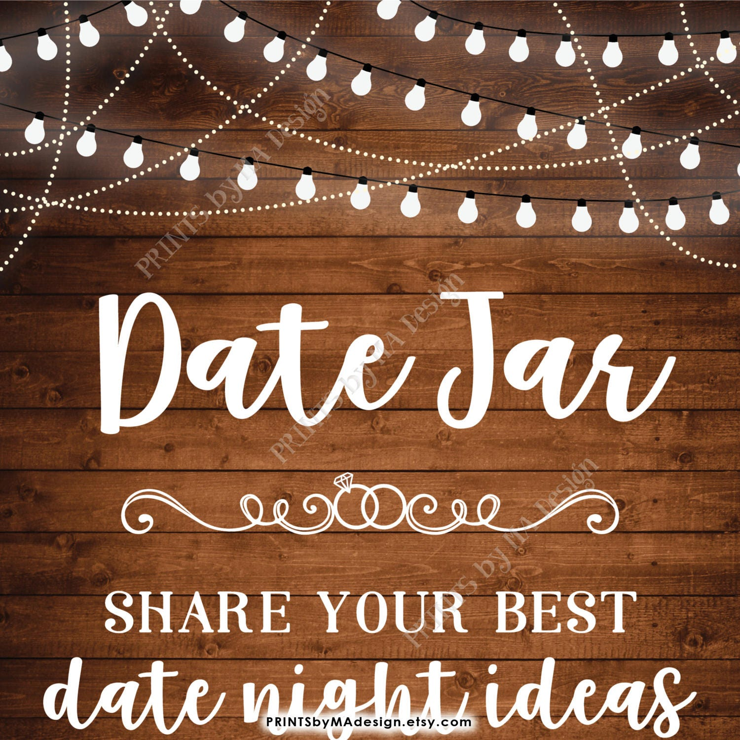 Date Jar Sign, Share your best Date Ideas with the Future Mr & Mrs Date Night Jar Shower, 8x10