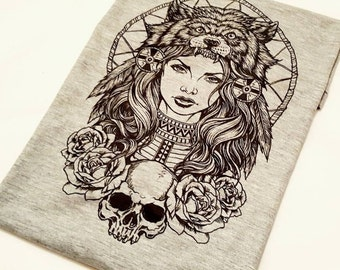 Native American Witchdoctor, Skull And Roses Shirt, Wolf Headdress T-Shirt, Ladies Dreamcatcher Tee, Witch Doctor Top, Womens Christmas Gift