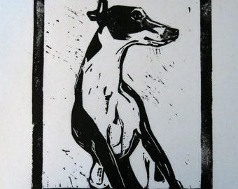 Leaning Greyhound art block print