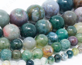"Indian Agate Beads Natural Gemstone Round Loose - 4mm 6mm 8mm 10mm 12mm - 15.5"" Strand"