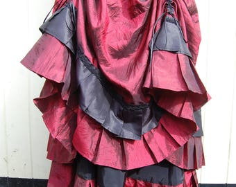 Steampunk Skirt, Pirate Wench, Gothic In Red and Black Taffeta